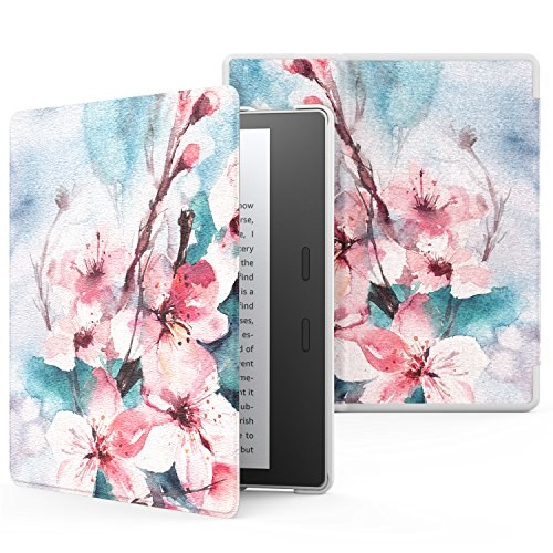 MoKo Case Fits All-New Kindle Oasis (9th and 10th Generation ONLY, 2017 and 2019 Release), Premium Ultra Lightweight Shell Cover with Auto Wake/Sleep - Peach Blossom