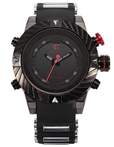 Shark Men's Digital Date Day Alarm LED Black Rubber Waterproof Sport Quartz Wrist Watch SH166
