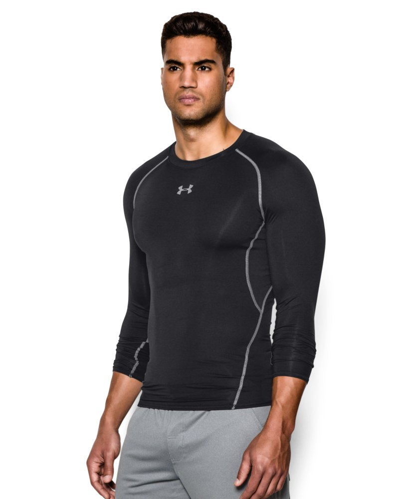 Under Armour Men's HeatGear Armour Long Sleeve Compression Shirt, Black (001)/Steel, X-Small by Under Armour (Image #3)