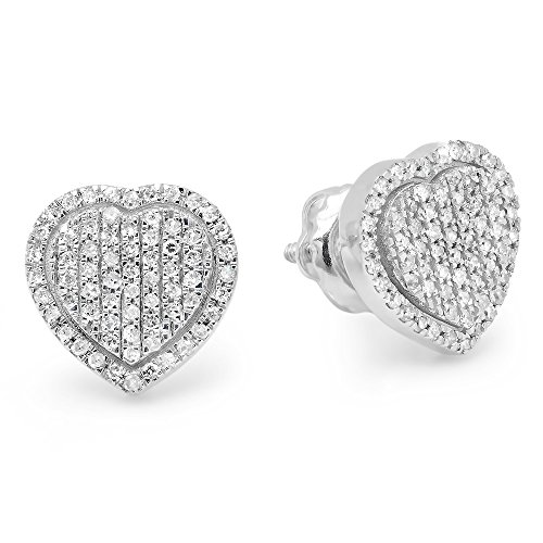 Dazzlingrock Collection 0.35 Carat (ctw) 14K Round White Diamond Ladies Heart Shape Fashion Stud Earrings 1/3 CT, White Gold