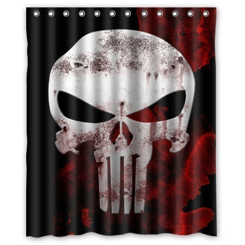 Cat Shower Curtain Abigai Special Design Punisher Skull