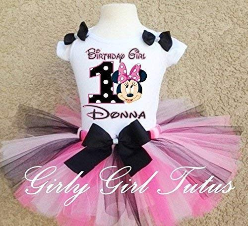 8058b4a8b52fe Amazon.com: Minnie Mouse 1st Birthday Baby Girl Birthday Outfit Tutu:  Handmade