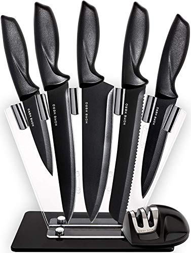 Elite Steel Steak Knives - Home Hero Chef Knife Set Knives Kitchen Set - Stainless Steel Kitchen Knives Set Kitchen Knife Set with Stand - Plus Professional Knife Sharpener - 7 Piece Stainless Steel Cutlery Knives Set