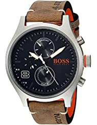 HUGO BOSS Mens Amsterdam Quartz Stainless Steel and Leather Casual Watch, Color:Grey (Model: 1550021)