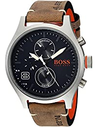 Mens Amsterdam Quartz Stainless Steel and Leather Casual Watch, Color:Grey (