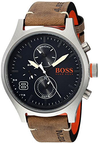 HUGO BOSS Men's 'Amsterdam' Quartz Stainless Steel and Leather Casual Watch, Color:Grey (Model: 1550021)