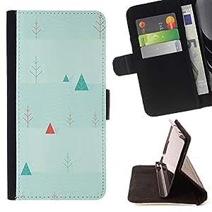 BullDog Case - FOR/Samsung ALPHA G850 / - / triangle picea christmas tree wallpaper art /- Monedero de cuero de la PU Llevar cubierta de la caja con el ID Credit Card Slots Flip funda de cuer