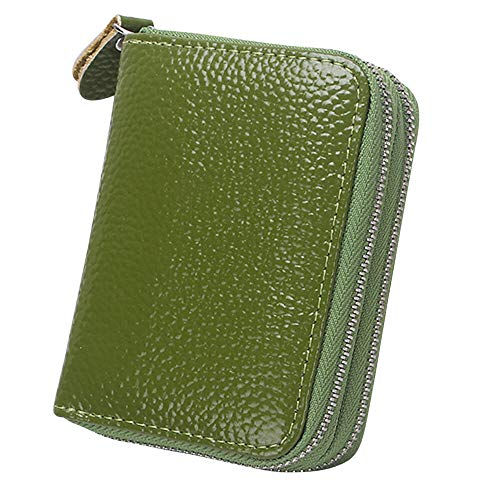 Classic PU Leather Womens Men Credit/ID Card Zipper Purse Wallets Coin Handbag (Colour - Green)