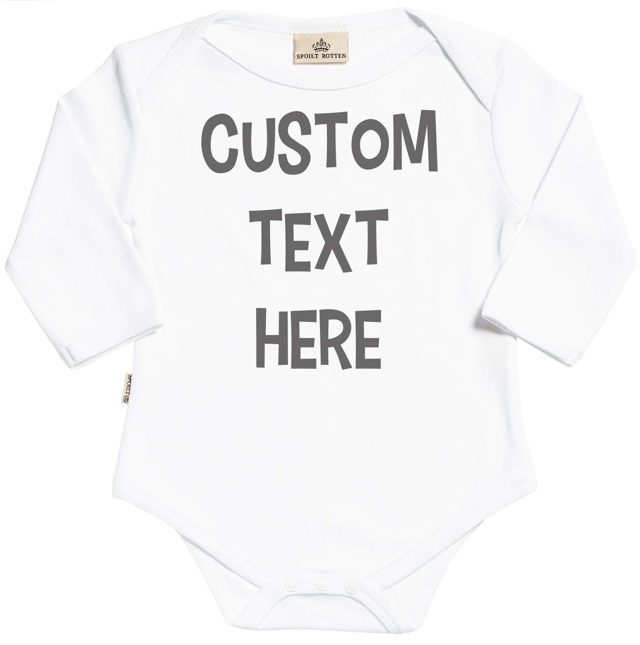 Personalised Baby Gift in Keepsake Gift Carton /& Teddy SR Custom Text Here Text Organic Baby Grow 0-6M White