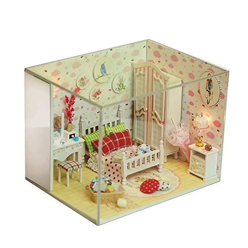Gbell  DIY Dollhouse Wooden Room Kit ,3D Handmade Assemble Puzzles Toy ,Miniature House Home Decoration Cottage Models with LED Light Creative Artwork Gift for Girls Friends Boys Mom