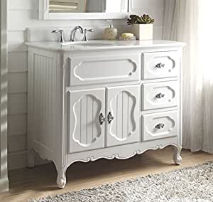 42 White Victorian Cottage Style Knoxville Bathroom Sink Vanity Gd 1509w 42