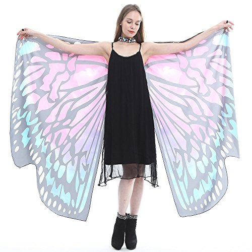 VEFSU Women Butterfly Wings Party Shawl Scarves Ladies Nymph Pixie Poncho Costume Accessory (B) -