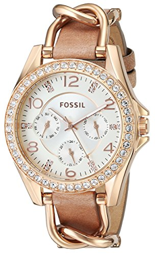 Fossil Womens ES3466 Riley Rose Gold-Tone Stainless Steel and Leather Watch with Crystal Accents