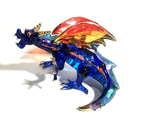 Handmade Large 4 inch Dragon Art Glass Blown Wild Animal Figurine - Model Y2018 -