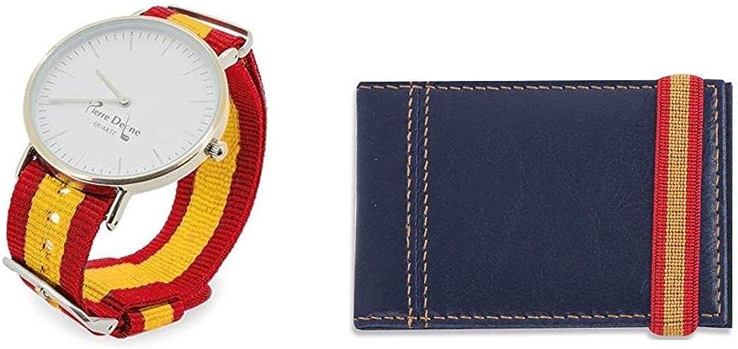 Set Reloj ESPAÑA con Pulseras Intercambiable Y Tarjetero Polipiel Azul con Cinta ELÁSTICA, PRESENTADO EN Bolsa DE Tela Granate DE Regalo