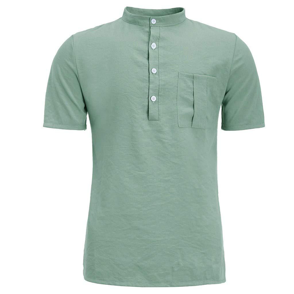iFOMO Half Button Short Sleeve Cotton Linen T-Shirt for Men