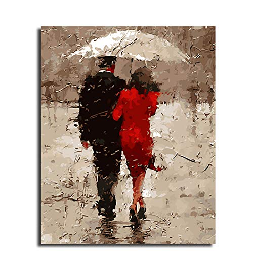 Leezeshaw DIY Oil Painting, Paint by Number Kits Home Decor Wall Pic Value Gift - Romantic Couple Walking Under The Umbrella in The Rain 16x20 Inch