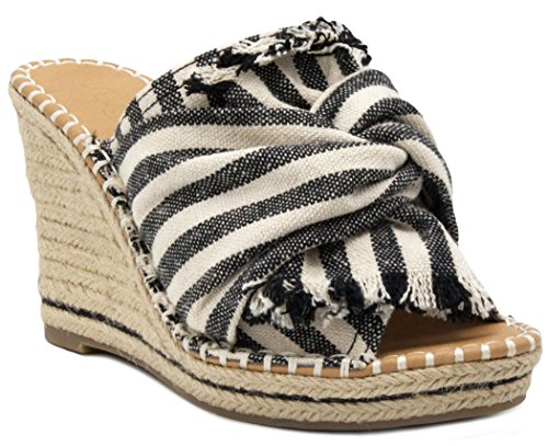 Espadrille Wedge Slide Sandal with Bow Detail 8 Dark Natural (Espadrille Slides Sandals Shoes)