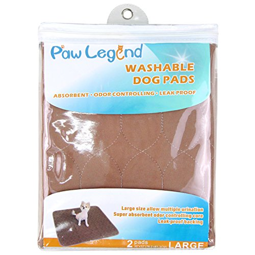 Paw Legend Reusable Dog Pee Pads (2 Pack) of 30''x32'' - Washable Dog Training Pads, Large Travel Pad for Pets(1 Brown & 1 Tan) by Paw Legend (Image #1)'