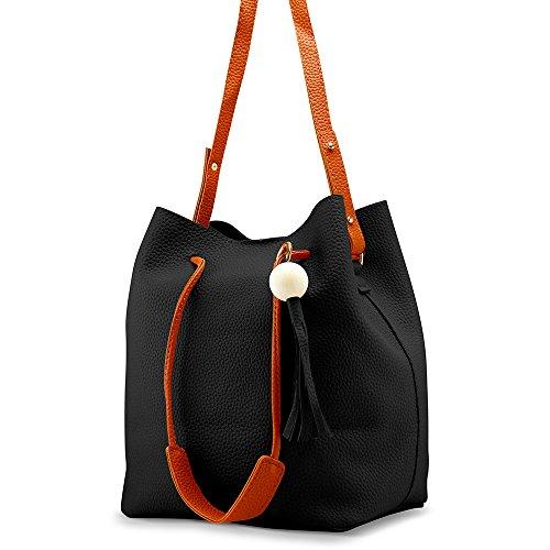 Oct17 Fashion Tassel buckets Tote Handbag, Women Messenger Hobos Shoulder Bags, Crossbody Satchel Bag - Black by OCT17 (Image #1)