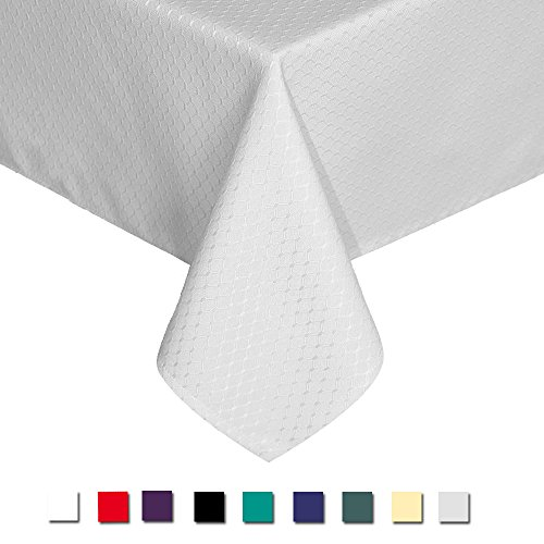 Eforcurtain Home Decor Water Resistant Table Cover Fabric Waffle Weave Tablecloth, Pearl White, Extra Long 60 By 120-inch ()