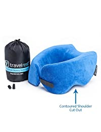 Travelrest - Ultimate Memory Foam Travel Pillow/Neck Pillow, Ergonomic - Patented - Best Travel Pillow for Airplanes, Cars, Buses, Trains, Office Napping, Camping, Wheelchairs and Home (Blue)