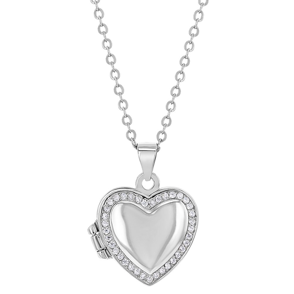 925 Sterling Silver Cubic Zirconia Heart Photo Locket Girls Necklace 16 In Season Jewelry SS-09-00045