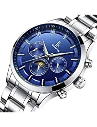 IK Wristwatches Men's Date/Week/24 Hours Moon-Phase Auto Mechanical Watch (Silver-Blue)