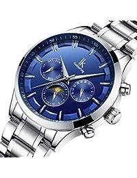 IK Wristwatches Men's Date/Week/24 Hours Moon-Phase Auto Mechanical Watch (Silver-Blue)