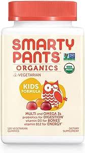 Daily Organic Gummy Kids Multivitamin: Biotin, Vitamin C, D3, E, B12, A, Omega 3 Fish Oil, Zinc, Selenium, Niacin, Iodine, Choline, Methylfolate, Thiamine by SmartyPants (120 Count, 30 Day Supply)
