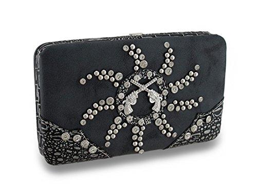 Leather Look Crossed Pistols Rhinestone Sunburst Studded Hard Case Wallet