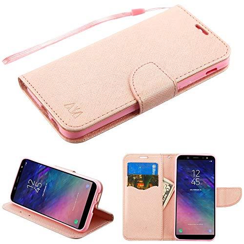 Case+Stylus, PU Leather Fits Samsung Galaxy A6 (2018) MYBAT MyJacket Wallet MYBAT Rose Gold Pink Pattern/Rose Gold Liner Crossgrain MyJacket Wallet with Strap
