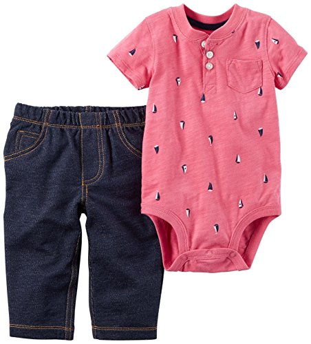 Carter's Baby Boys' Bodysuit Pant Sets 121h162, Red Sailboat, 6M