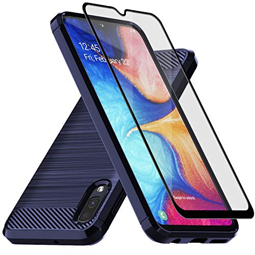 Muokctm Samsung Galaxy A10E Case, with Tempered Glass Screen Protector, Slim Soft TPU Protective Rubber Bumper Case…