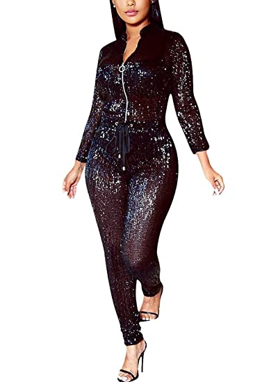 Amazoncom Dingang Women Sexy Sparkly Sequin Long Sleeve Party