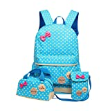 Kids Children Girls Cute Polka Dot Bag School Backpack Handbag Purse 3pcs(Sky Blue)
