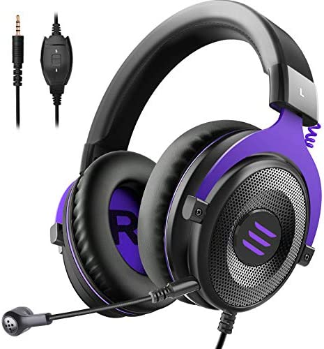 EKSA E900 Gaming Headset - PC Headset Wired Headphones with Detachable Noise Canceling Microphone, Over Ear Headphones Compatible with PS4/PS5 Controller, Xbox One, Nintendo Switch, PC, Computer
