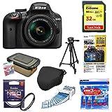 Nikon デジタル一眼レフカメラ D3400 AF-P 18-55 VR レンズキット ブラック D3400LKBK + アクセサリー8点セット(SDカード 32GB、液晶保護フィルム、カメラケース、レンズフィルター、レンズクリーニングティッシュ、ドライボックス、乾燥剤、三脚)