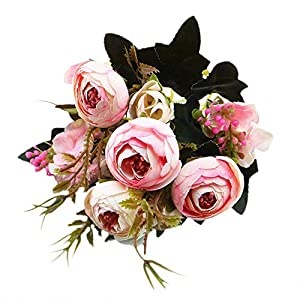 YJYdada 1 Bouquet Vintage Artificial Peony Silk Flowers Bouquet for Decoration (Pink) 74