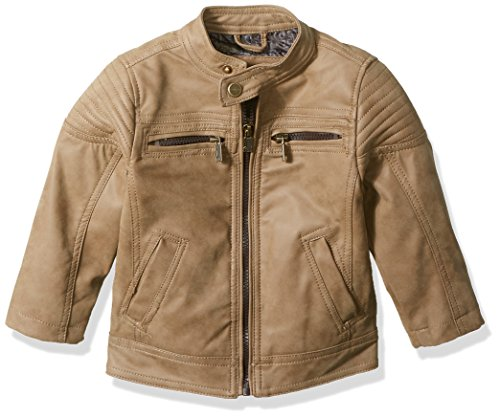 Urban Republic Baby Boys Pu Suede Faux Leather Moto Jacket, Saddle Brown, 12M