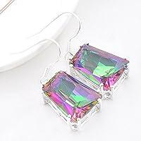 phitak shop Unique Fashion Silver Jewelry Rainbow Mystic Fire Topaz Silver Dangle Earrings