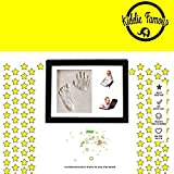 Baby Hand and Footprint Picture Frame (Black) - Wood Frame Keepsake Kit with Self-Drying Decorative Clay for Baby Handprint & Footprint - Memorable Boy and Girl Gift for Mother's, Father's