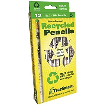 TreeSmart Recycled Newspaper Pencils (12 Pencils)