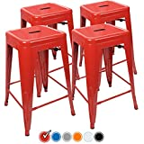 Bar Stools Red 24 Counter Height Bar Stools,! (RED) by UrbanMod, [Set Of 4] Stackable, Indoor/Outdoor, Kitchen Bar Stools,! 330LB Limit, Metal Bar Stools! Industrial, Galvanized Steel, Counter Stools!