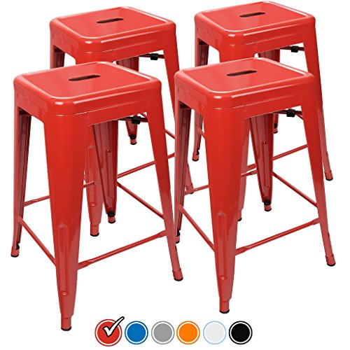 "24"" Counter Height Bar Stools,! (RED) by UrbanMod, [Set Of 4] Stackable, Indoor/Outdoor, Kitchen Bar Stools,! 330LB Limit, Metal Bar Stools! Industrial, Galvanized Steel, Counter Stools! (And Counter Height Patio Bar Sets)"