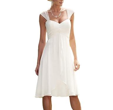 Udresses 2017 Knee Length Vestidos de Novia Simple Chiffon Wedding Dresses with Cap Sleeves Z5