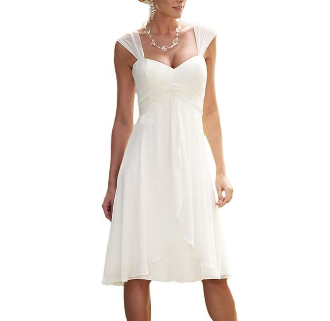 Vestidos de novia de gasa para boda con mangas de capucha y hasta la rodilla de