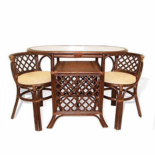 Rich Dining Furniture Set 2 Chairs with Cushion Oval Dining Table ECO Rattan Wicker Color Dark - Oval Wicker Table