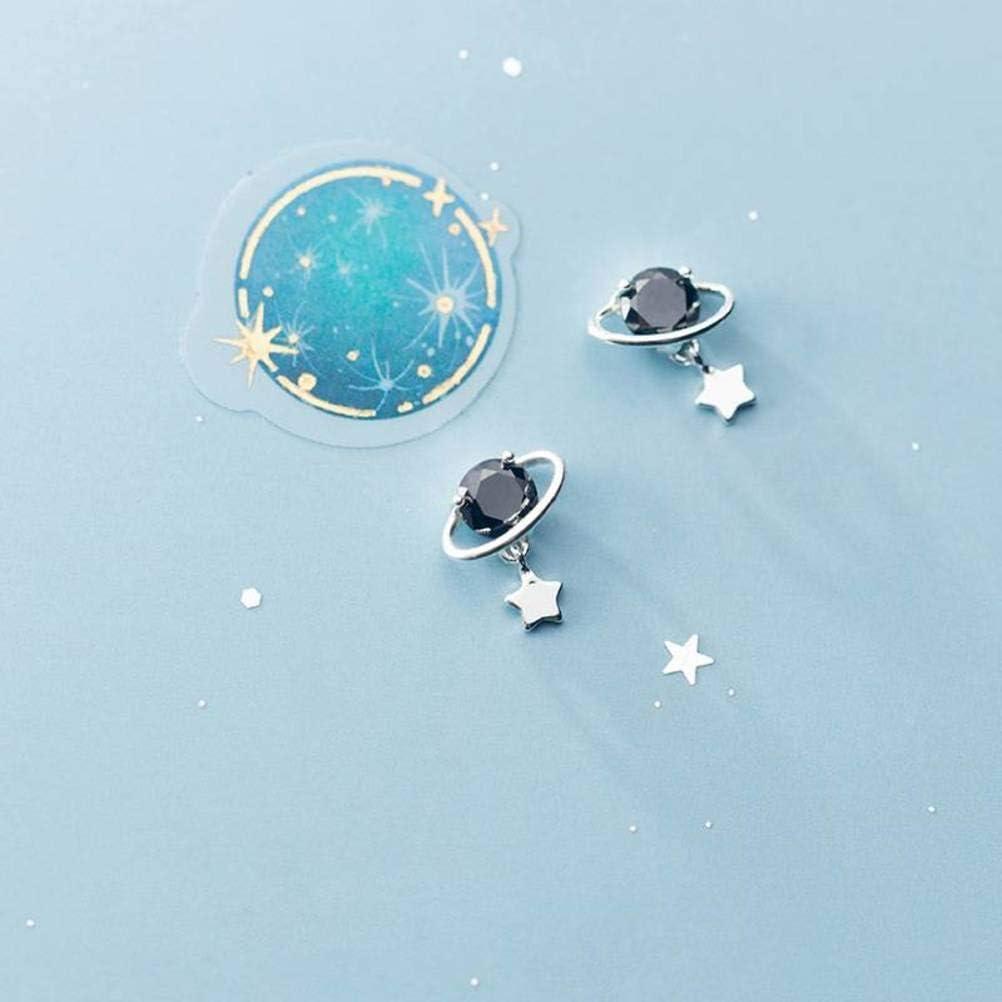 WOZUIMEI S925 Pendientes de Plata Dulce Personalidad Pequeño Planeta Limpio Lindo Pendientes de Diamantes Negros Joyas de Estrellas Coreanasplata, Plata 925