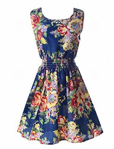 Generic Womens Classic Sleeveless Sundress Summer Floral Mini Dress Green X-Large